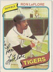 "RON LeFLORE ""Detroit Tigers"" 1980 #80 Topps Baseball Card"