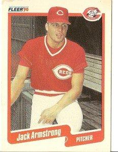"JACK ARMSTRONG ""Cincinnati Reds"" 1990 #412 Fleer Baseball Card"