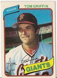 "TOM GRIFFIN ""San Francisco Giants"" 1980 #649 Topps Baseball Card"