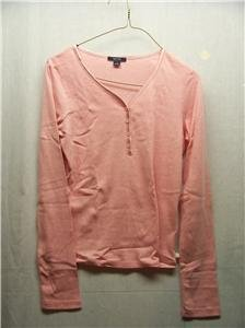 NAUTICA~Womens Pink L/S Top~Size S~New Hamp~MSRP $44