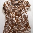 UNIQUE SPECTRUM Women's Brown/White Flowered Top, Size: Large, NWT