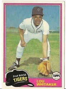 """LOU WHITAKER """"Detroit Tigers"""" 1981 #234 Topps Baseball Card"""