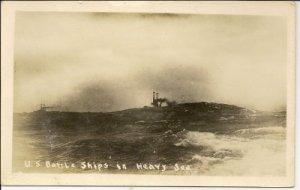 WORLD WAR l Post Card, U.S. Battle Ships in Heavy Sea