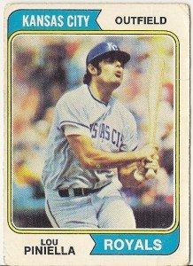 """LOU PINIELLA """"Kansas City Royals"""" 1974 #390 Topps Baseball Card"""