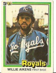 """WILLIE AIKENS """"Kansas City Royals"""" 1981 #220 Donruss Baseball Card"""