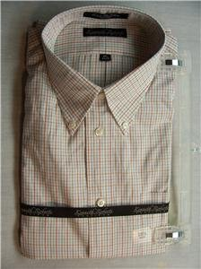 KENNETH ROBERTS Mens White Stripe Dress Shirt,16.534/35