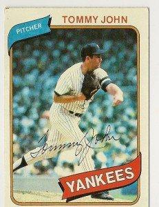"""TOMMY JOHN """"New York Yankees"""" 1980 #690 Topps Baseball Card"""