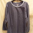 OLEG CASSINI SPORT Blue Stripe 3/4 Sleeve Shirt, Size: Medium, NWT