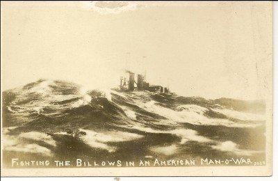 Fighting The Billows In An American Man-O-War Post Card