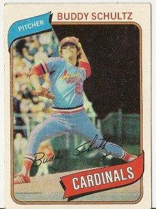 """BUDDY SCHULTZ """"St Louis Cardinals"""" 1980 #601 Topps Baseball Card"""