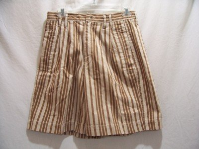 Womens Pre-Owned LIZ WEAR Brown Stripe, Size 10 Shorts