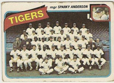 """DETROIT TIGERS"" Team Checklist 1980 #626 Topps Baseball Card"