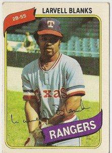 """LARVELL BLANKS """"Texas Rangers"""" 1980 #656 Topps Baseball Card"""