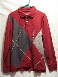 OLD NAVY~Mens L/S Polo Shirt~Gray/Maroon~Size S~NWT