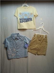 BUSTER BROWN Boy's 3 Piece Short/Shirts Set, Sz 2T , NWT