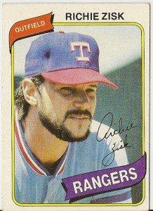 """RICHIE ZISK """"Rangers"""" 1980 #620 Topps Baseball Card"""