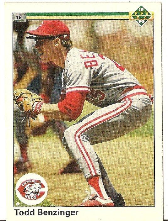 """TODD BENZINGER """"Cincinnati Reds"""" 1990 #186 Upper Deck Baseball Card"""