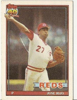 """JOSE RIJO """"Cincinnati Reds"""" 1991 #493 Topps Baseball Card"""