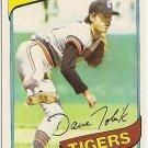 "DAVE TOBIK ""Detroit Tigers"" 1980 #269 Topps Baseball Card"