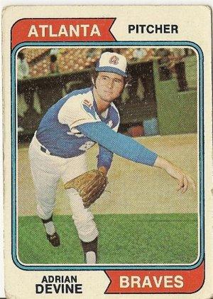 "ADRIAN DEVINE ""Atlanta Braves"" 1974 #614 Topps Baseball Card"
