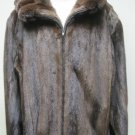 MENS ZIP UP MAHOGANY MINK JKT W/CHINCHILLA TRIM-58712(SIZE 50)