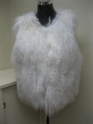 STUNNING CUTE JUNIOR WHITE COL TIBET(LAMB) FASHION VEST - 65550(o)