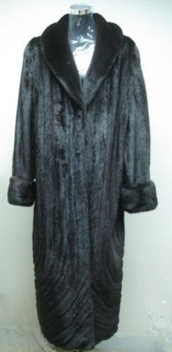 LADIES MAMA MAHOGANY F MINK LETOUT DIRECTIONAL LONG COAT-66160/1/3(SZ 18/20/24)