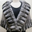 LADIES CHINCHILLA CAPE TRIM W/SAPPHIRE MINK-65444(o)  SIZE M