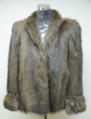 LADIES AMERICA BROWN RACCOON  FULL SKIN JKT-21033 (SIZE M)