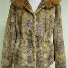 LADIES WHISKEY MINK SECTION HOODIE JACKET HOOD TRIM WITH FOX  -58864(o) SIZE 10