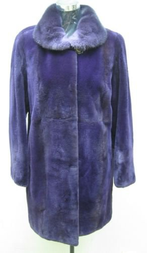 LADIES DYED PURPLE SHEARED MINK STROLLER - 41974 (SIZE 55)