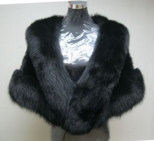 LADIES CLASSIC BLACK MINK CAPE TRIM WITH MATCHING COL FOX FUR-66970(SIZE SIZE F)