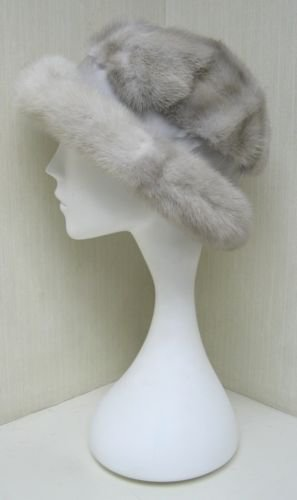 LADIES CUTE GREY FANCY MINK HAT -105