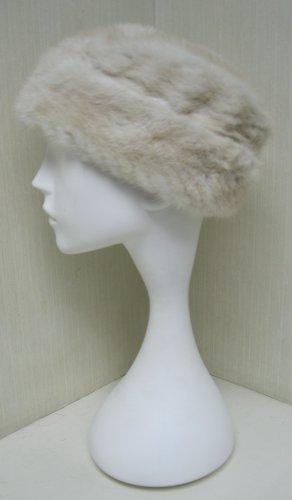 LADIES CUTE WHITE FANCY  MINK HAT - 114