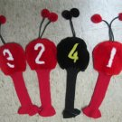 LUXURY DYED RED & BLACK SHEARED MINK GOLF HEAD COVER SET -17559(4 pcs)