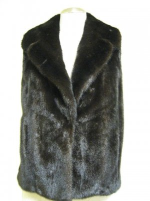 CHIC MAHOGANY MINK VEST WITH WOOL BACKING-56305 (SZ L)