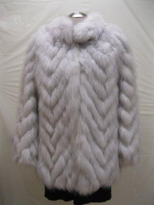 LADIES CUTE NATURE BLUE FOX CHEVRON JACKET-61069(o) Size 8