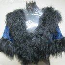 LADIES PRINTED BLUE REX CAPE TRIM WITH BLACK TIBET LAMB - 67018 (SZ F)