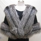 LADIES BLACK MINK CAPE WITH SILVER FOX TRIM-64473 (o) SIZE F