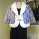 WHITE / PURPLE 2-TONE V-SHAPE MINK CAPE/WRAP - 52792(o)
