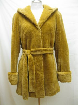 LADIES SHEARED GOLD MINK HOODIE JACKET-47755(o) (SZ 42 =M)