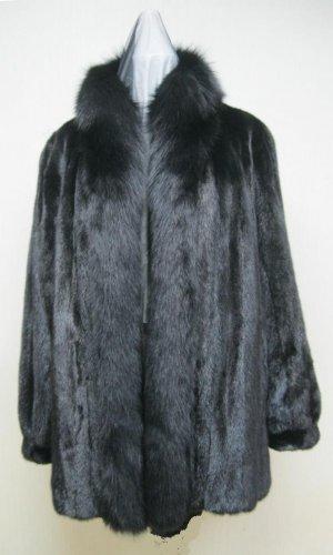LADIES BLACK MINK STROLLER W/FOX TUXEDO - 66023(o) available size in 12/14/16/