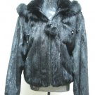 LADIES BLACK US MINK DETACHABLE HOOD JACKET TRIM WITH FOX- 66666 (SIZE 12)