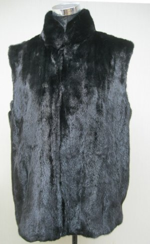 LADIES BLACK FEMALE MINK LETOUT ZIP UP VEST - 67072 (SIZE 16 )