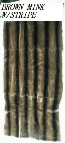 "MINK PLUCKED BROWN COL W/STRIPE PLATE-DRESSED GENUINE SKIN (est 44"" X 19 1/2"")"