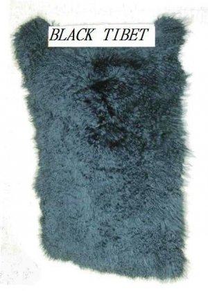 "LAMB -  DYED BLACK TIBET LAMB PLATE- DRESSED GENUINE FUR SKIN(est 44"" X 20"")"