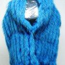 LADIES CUTE & FASHION DYED BLUE RACCOON SCARF TRIM WITH SILK LACE - 67181