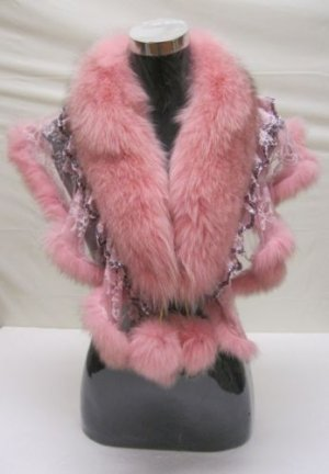 LADIES STUNNING CUTE DYED PINK FOX CAPE - WE0722 (sz F)