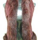 LADIES DYED BURGUNDY SHEARED REX VEST TRIM WITH FOX - HH33 (SIZE S)