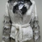 LADIES WHITE KNITTED FINLAND REX JACKET TRIM WITH FOX - HF0706242(SZ 12)